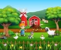 Kreskówka rolnik przy jego gospodarstwem rolnym z wiązką zwierzęta gospodarskie ilustracji