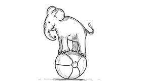 Kreskówka słonia równoważenia Cyrkowej piłki 2D animacja zdjęcie wideo