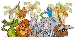 Kreskówka safari dzikich zwierząt Afrykańska grupa royalty ilustracja
