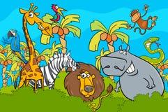 Kreskówka safari dzikiego zwierzęcia charakterów grupa ilustracja wektor