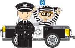 Kreskówka samochód z rabusiem i policjant ilustracji