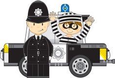 Kreskówka samochód z rabusiem i policjant royalty ilustracja