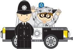 Kreskówka samochód z rabusiem i policjant ilustracja wektor