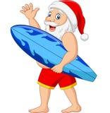 Kresk?wka Santa Claus trzyma surfboard falowania r?k? ilustracja wektor