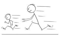 Kreskówka Sfrustowany, Gniewny ojciec Goni syna i ilustracji