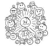 Kreskówka Sfrustowany mężczyzna i Jego Ogólnospołeczni sieć związki ilustracja wektor