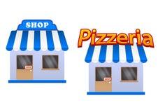 Kreskówka sklep i pizzeria ikony Obraz Royalty Free