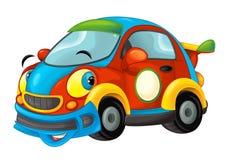 Kreskówka sportów samochód uśmiechnięty i patrzeje na białym tle ilustracji
