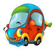 Kreskówka sportów samochód uśmiechnięty i patrzeje na białym tle ilustracja wektor