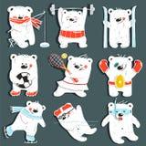Kreskówka sporta niedźwiedzie w akci kolekci Zdjęcia Stock