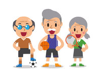 Kreskówka sporta starsi ludzie Obraz Royalty Free