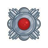 Kreskówka srebrny medal dekorujący z dużym czerwień kamieniem w środku, zwycięstwo nagrody emblemat Zdjęcie Stock
