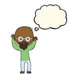 kreskówka stresujący się łysy mężczyzna z myśl bąblem Zdjęcia Royalty Free