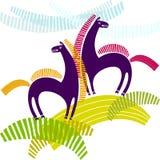 Kreskówka stylizowani konie Zdjęcie Stock