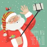 Kreskówka stylowy Święty Mikołaj robi selfie ilustracji