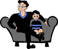 Kreskówka syna i ojca wektoru wizerunek ilustracja wektor