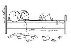 Kreskówka Szczęśliwa para w łóżku, mężczyzna i kobieta, Satysfakcjonujemy Po Plciowego stosunku ilustracja wektor