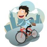 Kreskówka szczęśliwego biznesmena jeździecki bicykl pracować Fotografia Stock