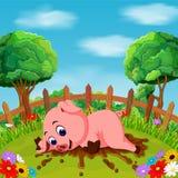 Kreskówka szczęśliwy świniowaty uśmiech w gospodarstwie rolnym Obrazy Stock