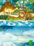 Kreskówka szczęśliwy dinosaur triceratops diplodokusa żółw i inni podwodni dinosaury - Obrazy Stock