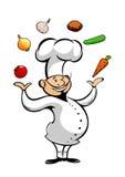 Kreskówka szef kuchni żongluje świeżych warzywa royalty ilustracja