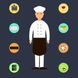 Kreskówka szef kuchni z restauracyjnymi ikonami ilustracji