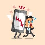 Kreskówka szefa biznesowy płacz z rynku papierów wartościowych strzałkowatym przedstawieniem na smartphone royalty ilustracja