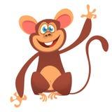 Kreskówka szympansa małpy śliczny falowanie Odizolowywająca wektorowa ilustracja Fotografia Royalty Free