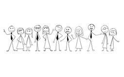 Kreskówka tłum ludzie biznesu Odizolowywający ilustracja wektor