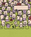 Kreskówka tłumu ludzie i Szczęśliwy wiosna czas royalty ilustracja