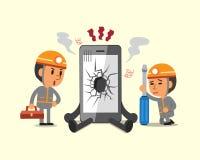 Kreskówka technicy i łamany smartphone ilustracji