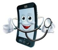 Kreskówka telefonu charakter trzyma stetoskop ilustracja wektor