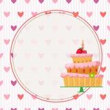 Kreskówka tort z czerwonymi truskawkami Zdjęcie Royalty Free