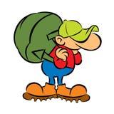 Kreskówka turysta z dużym zielonym plecakiem Zdjęcia Royalty Free