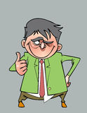 Kreskówka uśmiechnięty mężczyzna w kostiumu z krawatem pokazuje kciuk up Zdjęcie Royalty Free