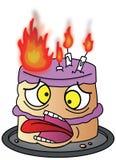 Kreskówka Urodzinowy tort na ogieniu ilustracja wektor