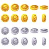 Kreskówka ustawiająca 3D kruszcowe monety, wektorowy animaci gry obracanie ilustracji