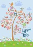 Kreskówka ustawiająca różni kolorowi ptaki na życzenia drzewnym błękitnym tle w mieszkanie stylu również zwrócić corel ilustracji royalty ilustracja