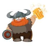 Kreskówka Viking z piwem Zdjęcia Stock