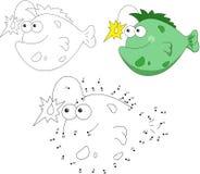 Kreskówka wędkarza uśmiechnięta ryba również zwrócić corel ilustracji wektora Kropka kropkować gama Obraz Stock