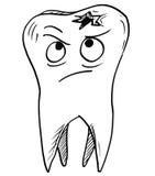 Kreskówka wektor Gnijący Próchnicowy ząb ilustracji