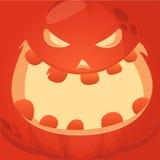 Kreskówka wektorowego potwora dyniowa twarz Śliczny kwadratowy avatar i ikona royalty ilustracja