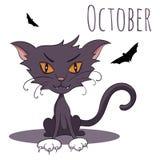 Kreskówka wektorowy kot dla kalendarzowego miesiąca Październik Zdjęcia Royalty Free