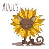 Kreskówka wektorowy kot dla kalendarzowego miesiąca Sierpień Fotografia Royalty Free
