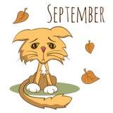Kreskówka wektorowy kot dla kalendarzowego miesiąca Wrzesień royalty ilustracja