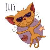 Kreskówka wektorowy kot dla kalendarzowego miesiąca Lipiec Obraz Stock