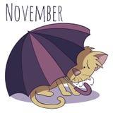 Kreskówka wektorowy kot dla kalendarzowego miesiąca Listopad Obraz Stock