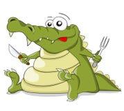 Kreskówka wektorowy krokodyl z nożem i rozwidleniem Zdjęcie Royalty Free
