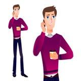 Kreskówka WEKTOROWY mężczyzna opowiada na telefonie Zdjęcia Stock