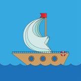 Kreskówka wektorowy statek w morzu Fotografia Royalty Free
